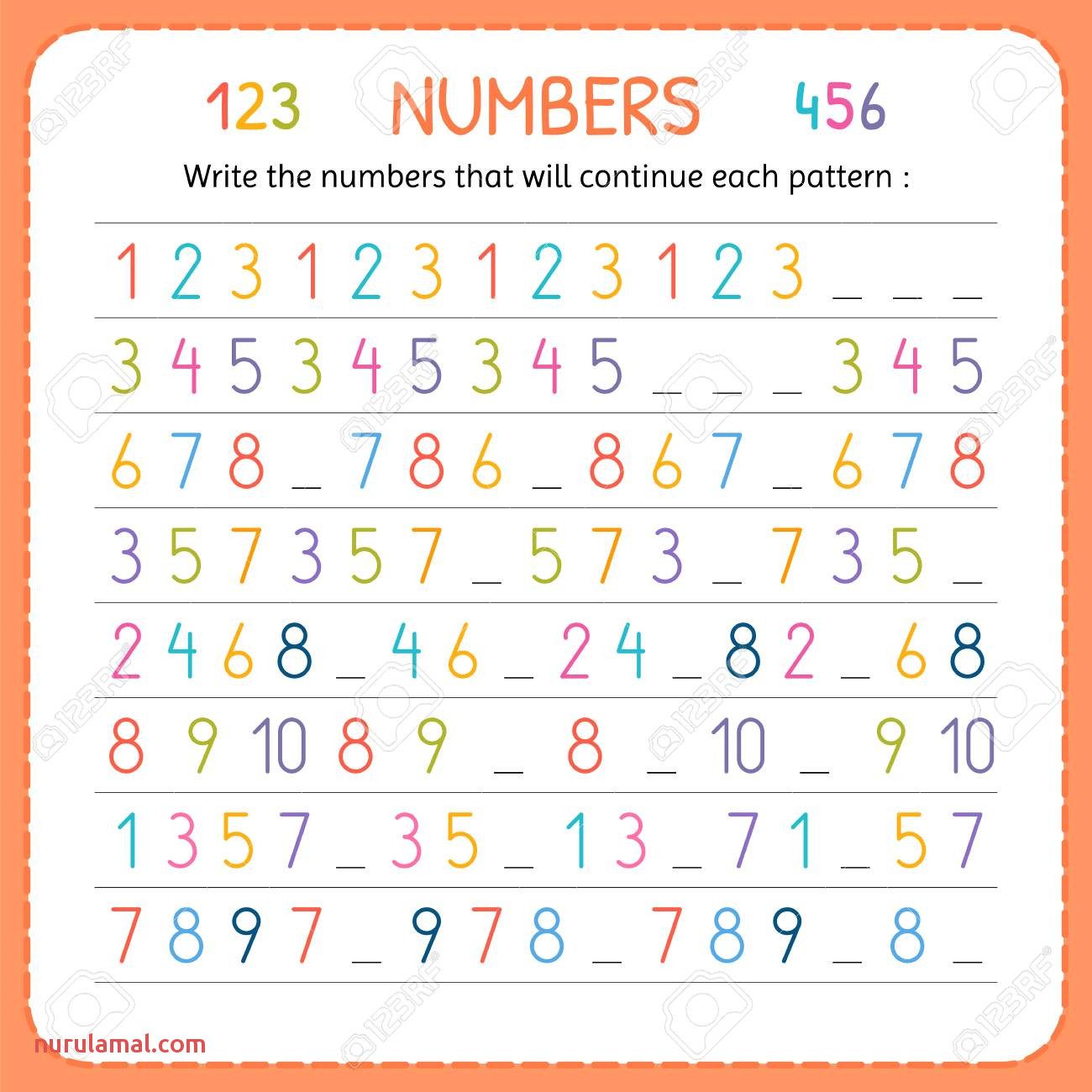 worksheets write the numbers that will continue each pattern for kids tracing printable writing