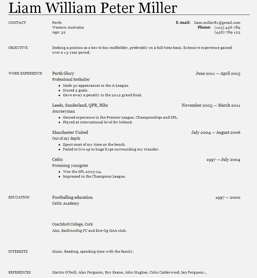 Year Old Cv Examples Resume Template Cover Letter