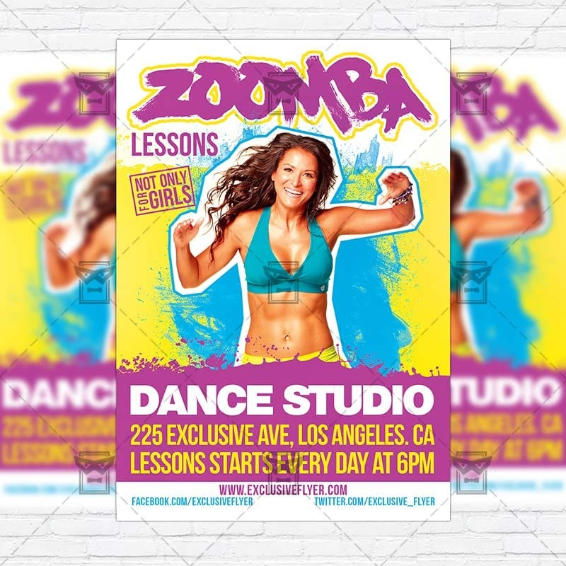 Zoomba Lessons Premium Flyer Template Instagram Size